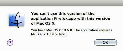 Image of dialog box saying my OS X is too old